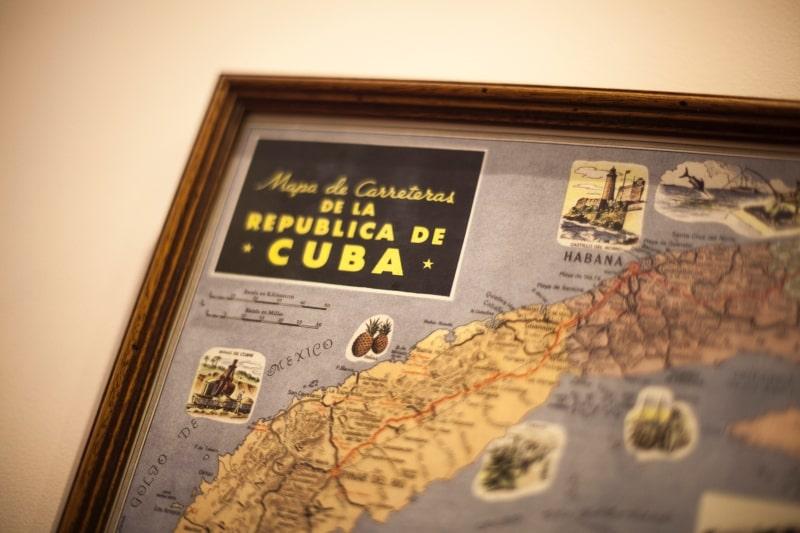 Mapa de Cuba en Restaurante Zara